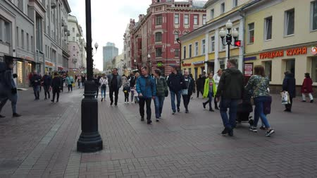 mob : 19 OCTOBER 2019, ARBAT STREET, MOSCOW, RUSSIA: Tourists walking on the old Arbat street in Moscow, Russia