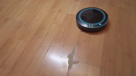 mindennapi : Robot vacuum cleaner rolls around the house, cleaning the house using electronics