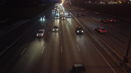 tilt : Night traffic of cars on the expressway Stock Footage