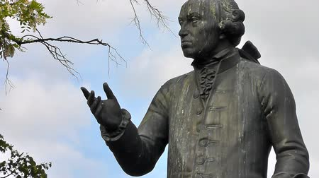 philosopher : Monument to Immanuel Kant (1724 - 1804), German philosopher from Koenigsberg Stock Footage