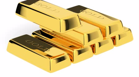 nesnelerin grubu : Gold bars Stok Video