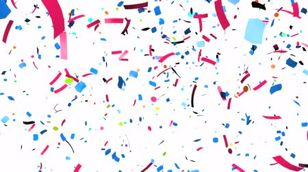 fundo branco : Animation of colorful confetti falling Vídeos