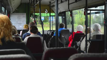 inside bus : People riding in the bus Stock Footage