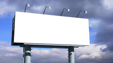 reklama : Billboard with empty screen, against blue cloudy sky