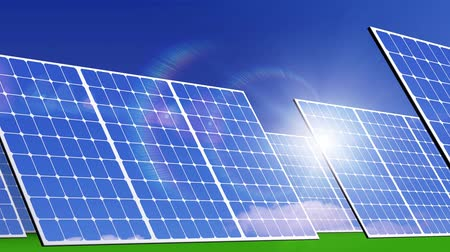 e : Solar panels, solar energy farm.  3d animation
