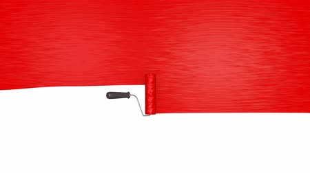 pędzel : Animation of roller brush with red paint, alpha mask included