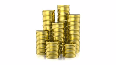 para kazanmak : Stack of golden coins on white background