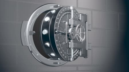 güvenli : Bank safe door 3d animation with alpha mask Stok Video