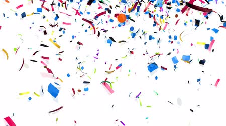 paper : Animation of colorful confetti falling Stock Footage