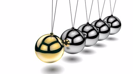 fizik : Animation of Newtons Cradle over white background