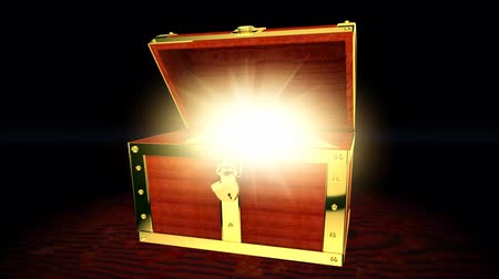 cadarço : , Wooden treasure chest with light inside, 3D animation