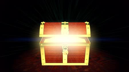 kutu : Wooden treasure chest with light inside, 3D animation