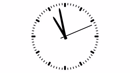 pm : Clock on white background, seamless loop animation