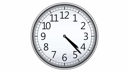 clock hands : Animated clock counting down 12 hours, seamless loop animation
