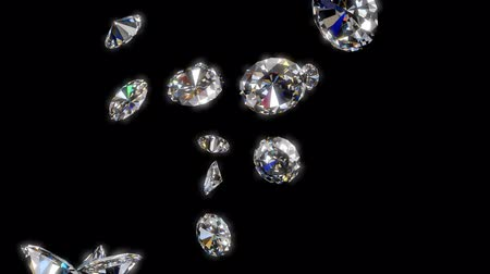 waarden : Falling Diamonds - 3d animatie met alpha matte Stockvideo