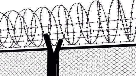 płot : Fence with a barbed wire animation