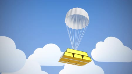 pára quedas : Parachute with golden bricks on blue sky background Vídeos