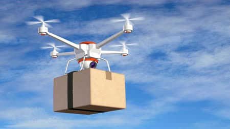 paketleme : Quadrocopter with cardboard package, 3d animation Stok Video