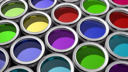 bucket paint : Bunte Farben Dosen - 3D-Animation