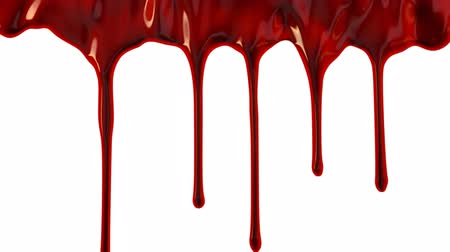 капельный : Blood dripping down over white background Стоковые видеозаписи
