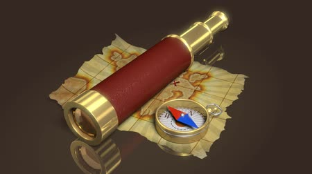 tesouro : Compass, spyglass and old map, 3d animation