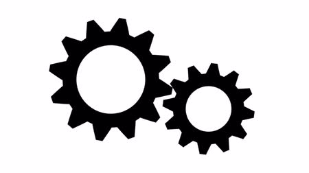 engrenagem : Silhouette gears on a white background Vídeos