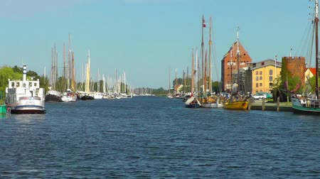 hanseatic : Harbour on the river Ryck, West Pomerania. Greifswald Stock Footage