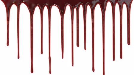 krew : Blood dripping down over white background Wideo