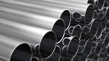 paslanmaz : Steel pipes in a row. 3d animation