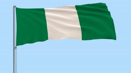abuja : Flag of Nigeria on a flagpole fluttering in the wind on a transparent blue background, 3d rendering, PNG format with ALPHA transparency