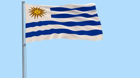 montevideo : Isolate flag of Uruguay on a flagpole fluttering in the wind on a transparent background, 3d rendering, PNG format with ALPHA transparency