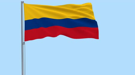 bogota : Isolate flag of Colombia on a flagpole fluttering in the wind on a transparent background, 3d rendering, PNG format with Alpha channel transparency