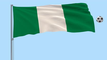 abuja : Realistic fluttering flag of Nigeria and soccer ball flying around on a transparent background, 3d rendering, PNG format with Alpha channel transparency Stock Footage