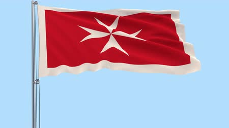 png : Isolate Civil Ensign of Malta - flag on a flagpole fluttering in the wind on a transparent background, 3d rendering, PNG format with Alpha channel transparency