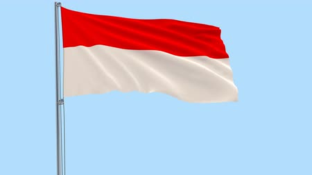 png : Isolate flag of Indonesia on a flagpole fluttering in the wind on a transparent background, 3d rendering, PNG format with Alpha channel transparency