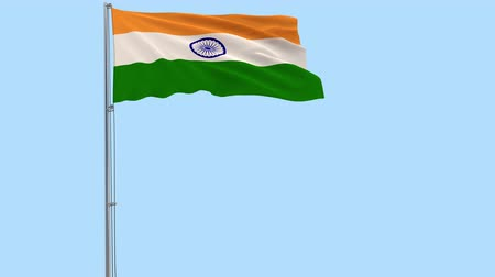 indian roller : Isolate flag of India on a flagpole fluttering in the wind on a transparent background, 3d rendering, PNG format with Alpha channel transparency Stock Footage