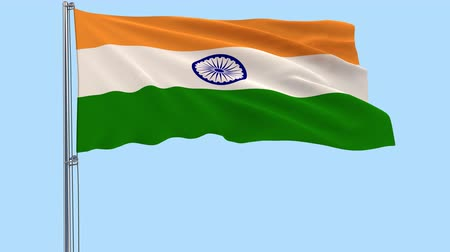 png : Isolated large cloth of India on a flagpole fluttering in the wind on a transparent background, 3d rendering, PNG format with Alpha channel transparency