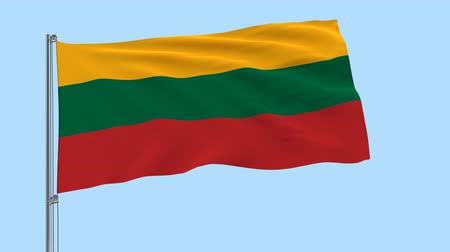 lietuvos : Isolate large cloth of Lithuania on a flagpole fluttering in the wind on a transparent background, 3d rendering, PNG format with Alpha channel transparency