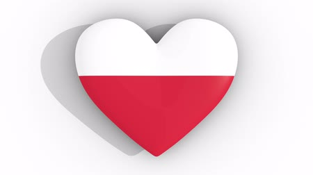 egemenlik : Pulsating heart in the colors of Poland flag, on a white background, 3d rendering top, loop Stok Video