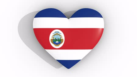 egemenlik : Pulsating heart in the colors of Costa Rica flag, on a white background, 3d rendering top, loop