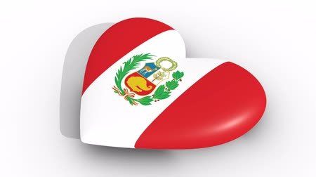 laur : Pulsating heart in the colors of Peru flag, on a white background, 3d rendering side, loop