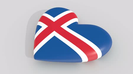 cant : Pulsating heart in the colors of Iceland flag, on a white background, 3d rendering side, loop Stock Footage