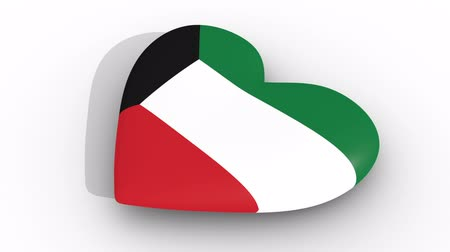 egemenlik : Pulsating heart in the colors of Kuwait flag, on a white background, 3d rendering side, loop