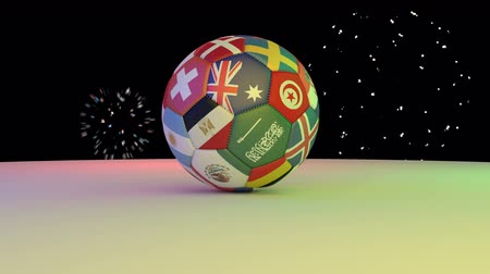 sérvia : Fireworks over the football with the flags of the 2018 World Cup participants rotating on the white surface, 3D rendering, loop