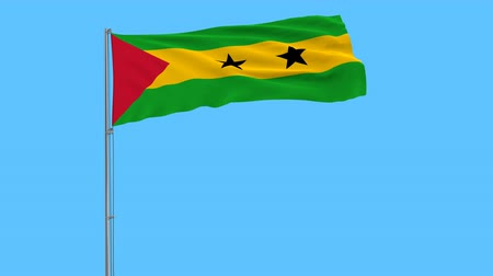 tome : Flag of Sao Tome and Principe on the flagpole fluttering in the wind on a pure blue background, 3d rendering