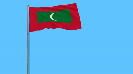 indian roller : Flag of Maldives on the flagpole fluttering in the wind on a pure blue background, 3d rendering