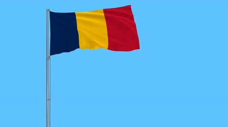 чад : Isolate flag of Chad on a flagpole fluttering in the wind on blue background, 3d rendering
