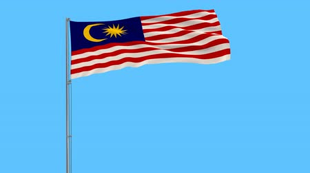 kalimantan : Isolate flag of Malaysia on a flagpole fluttering in the wind on blue background, 3d rendering