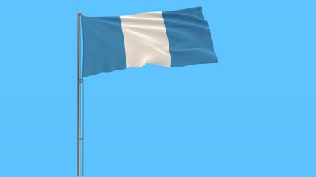 ciudad : Isolate civil flag of Guatemala on a flagpole fluttering in the wind on blue background, 3d rendering