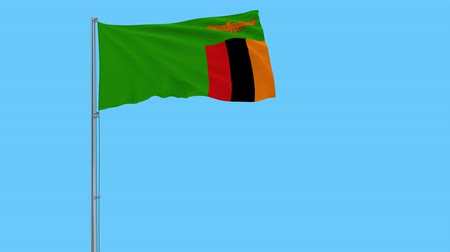 republic of zambia : Isolate flag of Zambia on a flagpole fluttering in the wind on a transparent background, 3d rendering, 4k prores footage, alpha transparency